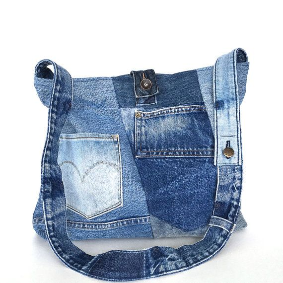Crossbody tote bag , Recycled jean bag , Vegan denim tote purse , jean cross…