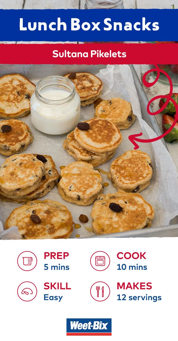 Perfect as a quick and easy breakfast or a delicious lunchbox snack, these pikelets are packed with the delicious goodness of finely crushed Weet-Bix™ and sultanas. Try serving them with a dollop of yoghurt and some berries, or with peanut butter and drizzle of honey. View this recipe in our FREE recipe e-book by Masterchef winner Julie Goodwin. Download it now and be in the draw to win one of 2,000 hard copies! www.weetbix.com.au/lunchbox