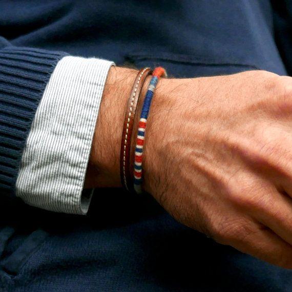 Bracelet manchette pour homme / Bracelet cuir et laine tissée / Style marin / Bracelet d'amitié / Cadeau pour homme / Boho-chic/ Cadeau Noël
