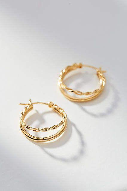 1b4bb6c3a8a0f Duo Braided Hoop Earrings | Products | Earrings, Jewelry, Jewelry ...