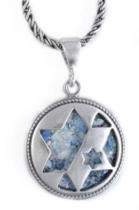 Great Ancient Roman Glass Pendant, 925 Sterling Silver Pendant, Star Of David, Judaica, OOAK, Unique Jewelry