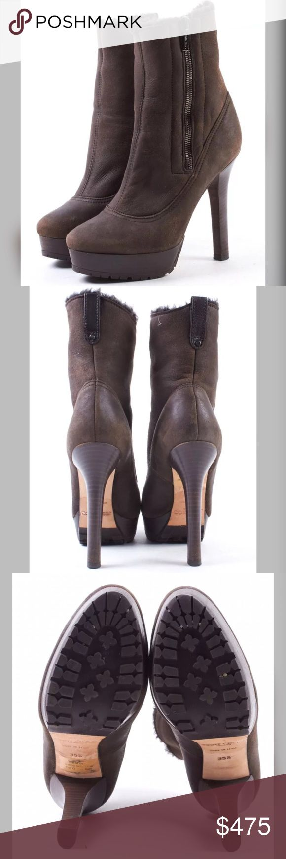Jimmy Choo shearling fur ankle boots These are AMAZING!! Brown suede with shearling fur-. Very light wear. A must have for any Jimmy Choo collector! Comes with dust bag. Jimmy Choo Shoes Ankle Boots & Booties
