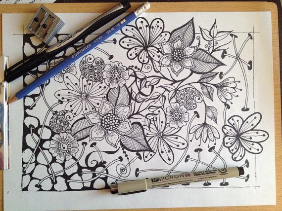 Fleurs zentangle