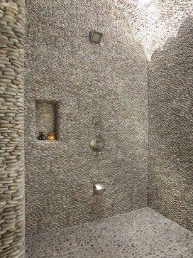 wet room shower using standing java tan pebble tile on walls andu2026