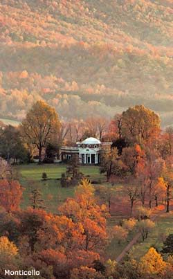 Thomas Jefferson's Monticello, Charlottesville, Virginia in autumn