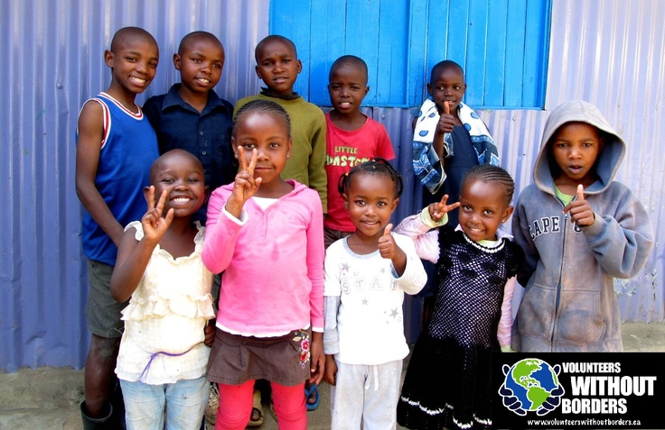 Volunteer with Orphans in the Nairobi Slums (Like these ones who we personally visited), who are orphans because of losing their parents to HIV/Aids! Find out how to help at www.volunteerswithoutborders.ca