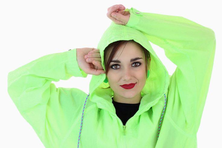 80s Neon Green Jacket Windbreaker 90s Vintage Neon Hooded Hoodie 1980s 1990s Workout Running Surf Retro Unisex Mens Womens Medium M by neonthreadsdesigns on Etsy