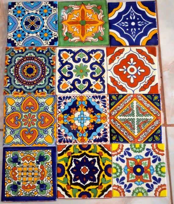 12 Mexican Talavera Tiles Hand Painted 4 X 4 Talavera Pottery Tile Art