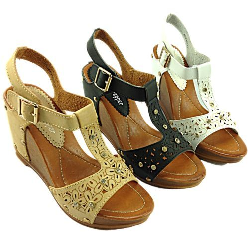 NEW! Ladies High Wedge Faux Leather Studded T-Bar Peep Toe Sandals £22.99