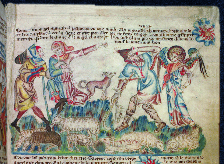 The Angel and Shepherds with sheep and dog,  England, S.E., c 1327-1335, from 'The Holkham Bible Picture Book', Add MS 47682, f. 13r