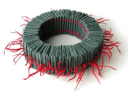 Florence Jaquet  Bracelet: Untitled 2012  Paper, linen thread.   ø 22 cm. via Klimt02