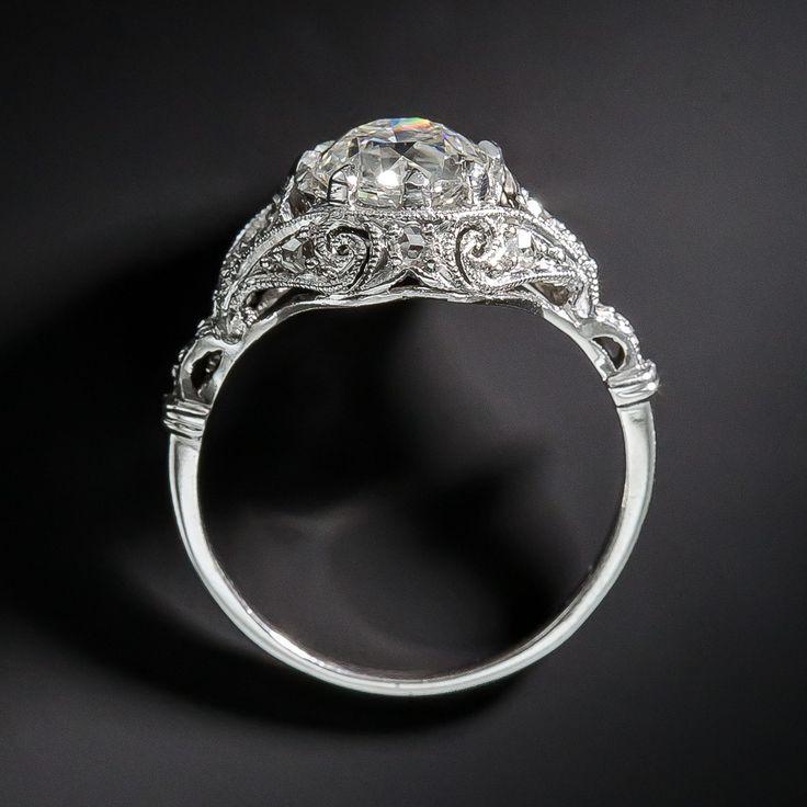 1.38 Carat Art Deco Platinum and Diamond Edwardian Engagement Ring - 10-1-6642 - Lang Antiques