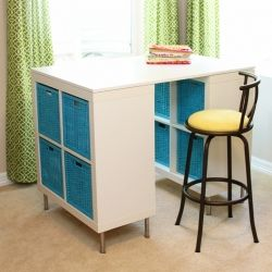 Make a counter height craft table using 2 shelves, a table top, and 8 legs.: Counter Height Tables, Crafts Rooms, Diy Crafts, Counter Height Crafts Tables, Tables Tops, Craft Tables, Desks Storage, Coins Couture, Study Desks
