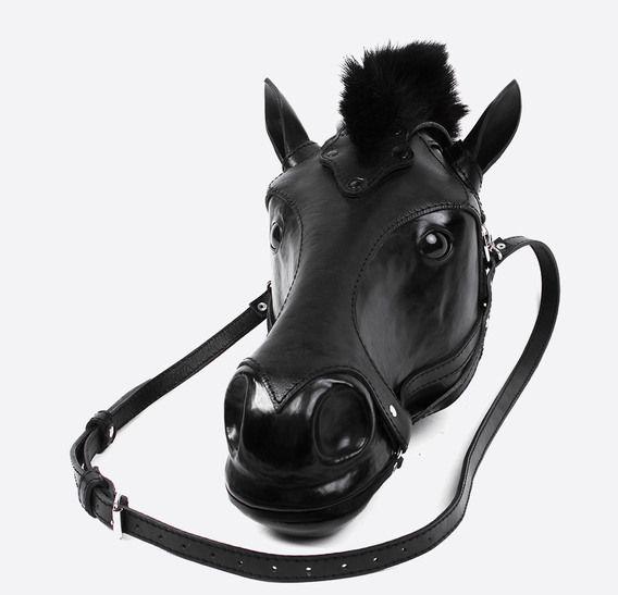 Большой палец Боб Бассет черный конь голова кожаная сумка 1