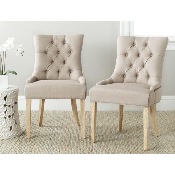 Safavieh Abby Taupe Linen Side Chairs featuring polyvore, home, furniture, chairs, dining chairs, grey, grey kitchen chairs, gray tufted dining chair, tufted linen chair, safavieh chair and colored dining chairs