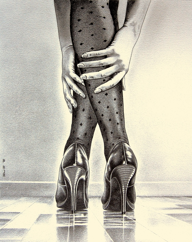 Tacones  Pencil drawing 30x40  by Bug rogers