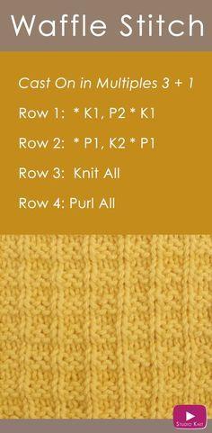 Como tricotar o ponto de waffle com padrão de tricô grátis + Video Tutorial by Stu ...