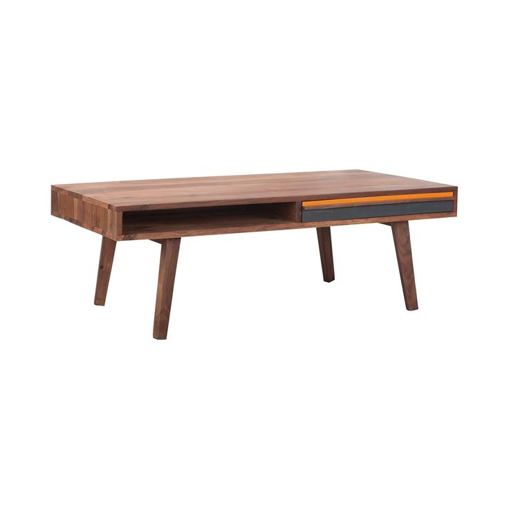 With its charming mid-century-inspired design and retro-chic orange and gray accenting, this Narran Coffee Table will make a stunning addition to any vintage influenced or transitional living space. Th...  Find the Narran Coffee Table, as seen in the The Amado Collection at http://dotandbo.com/collections/the-amado?utm_source=pinterest&utm_medium=organic&db_sku=DBN1004-GRYORG