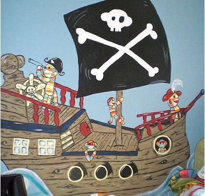 Baby Boy's Pirate Sock Monkey Nursery Mural: Thanks to Kayla Morris for sharing her pirate sock monkey nursery mural with us.  This unique painting would look incredible on the wall of a baby pirate