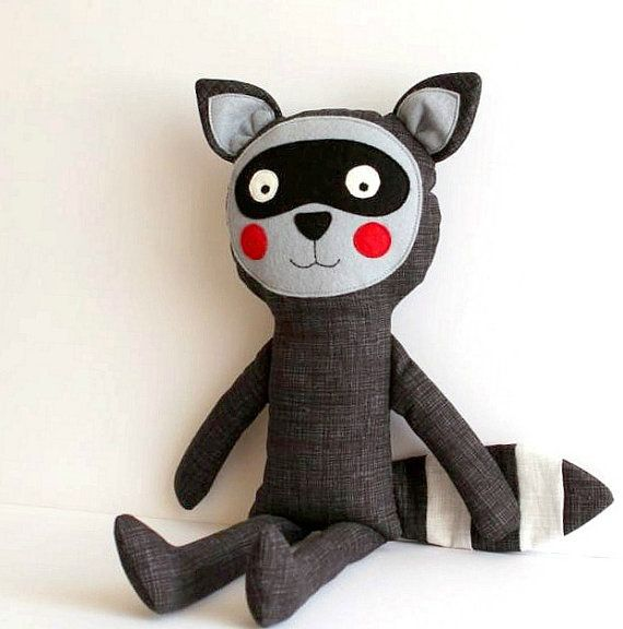Raccoon Handmade stuffed toy for kids by blita on Etsy, $45.00