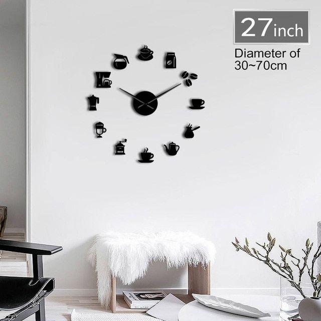 Coffee Time 3D DIY Size Adjustable Wall Clock Modern Design ...