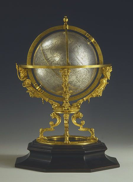 Eberhard Baldewein (ca. 1525-1593) Celestial globe clock, Kassel, 1574Paris, Collection Kugel This instrument, built by a craftsman who enjoyed immense prestige in his day, is the oldest mechanical celestial sphere to have been built in Germany.