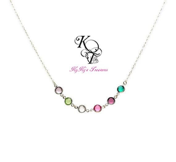 Best Seller! Sterling Silver Family Birthstone Grandmother Necklace with up to 14 Swarovski Crystal Birthstone Links.  If you're looking for a perfect gift for your mom, wife or grandmother, order today!  https://www.etsy.com/listing/260358133/grandmother-necklace-birthstone-necklace