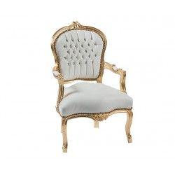 Poltrona sedia barocco Luigi XVI pelle bianca oro braccioli