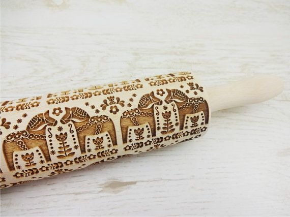 Folk Horses Embossing Rolling Pin. FOLK HORSES pattern. Engraved rolling pin with horses for embossed cookies or pasta. Useful in pottery