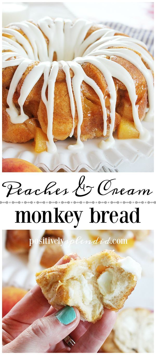Peaches and Cream Monkey Bread Recipe by Positively Splendid. A perfect treat idea for brunch or dessert!