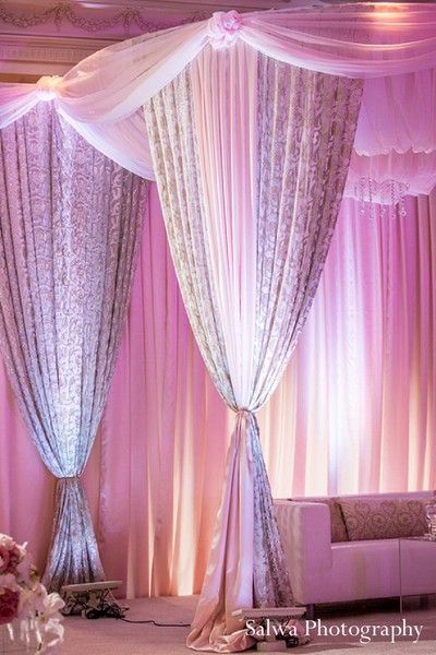 www.amouraffairs.in #AmourAffairs mandap decor #bride #indian #marriage #wedding #desistyle This Indian wedding reception is a glittering success with beautiful, soft floral and decor. The bride is gorgeous in a pale turquoise lengha.