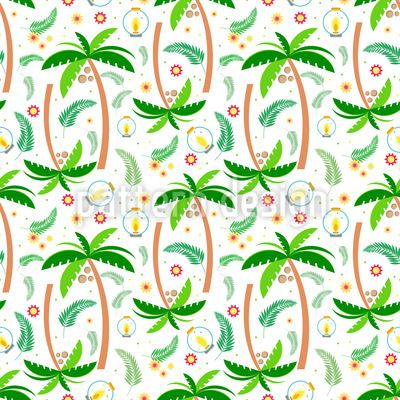 Tropical Trees Repeat Pattern Repeat Pattern by Elena Alimpieva at patterndesigns.com