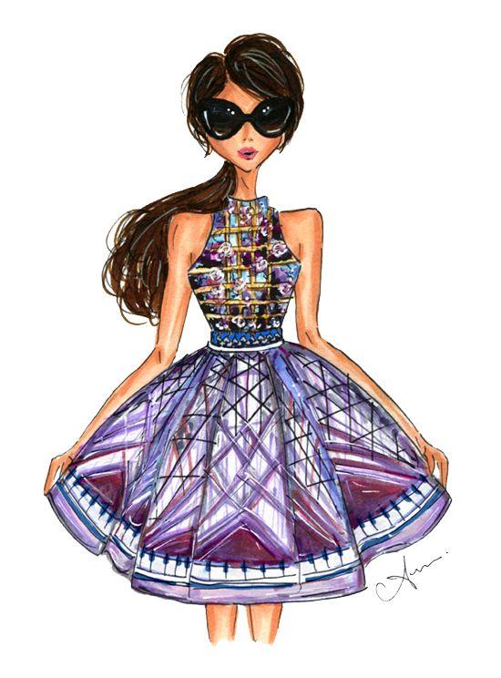 anum tariq illustrations: Mary katrantzou dress