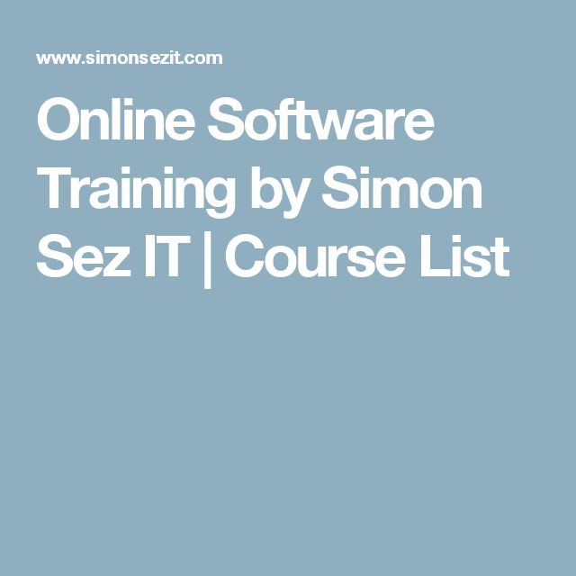 Online Software Training by Simon Sez IT | Course List