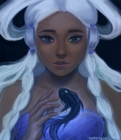 Moon spirit Yue and ocean spirit someone?? idk i was painting Yue and I was thinking i wish there was a human ocean spirit.. and so i painted one :') was hella fun – Julia Chaan