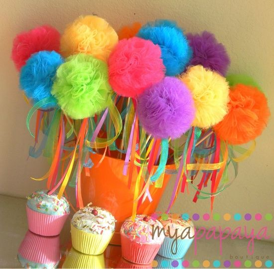 Candyland Birthday-Sweet Tutu Puff Wands  with Hanging Ribbons. $16.00, via