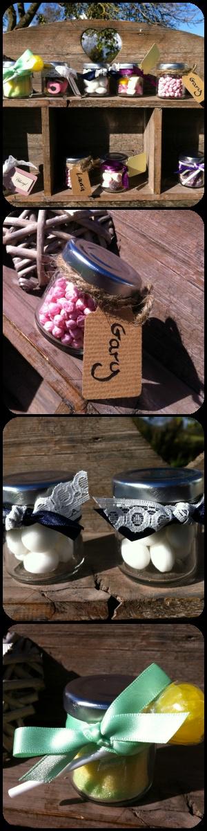 rustic mini jar sweet wedding favours