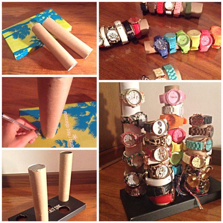 #organizadorderelojes  #DYI #watchesorganizer  con una tapa de cartón y tubos de cartón podemos crear fácilmente un organizador de relojes, la cantidad de tubos y el tamaño de la tapa varían según la cantidad de relojes a organizar, espero les guste :)