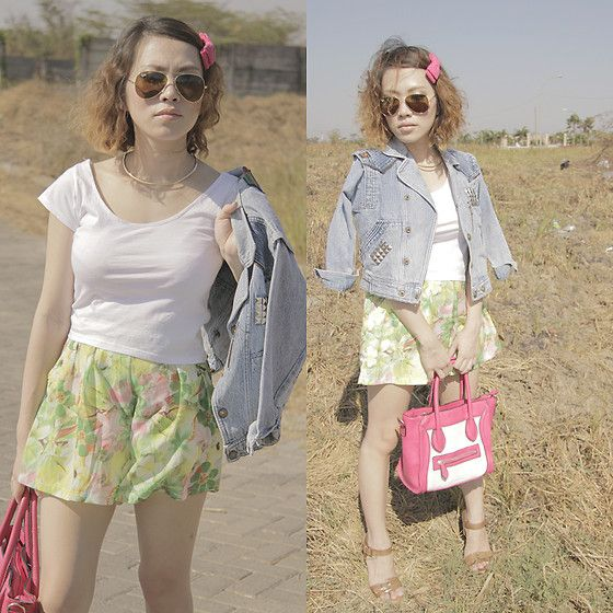 Vintage Jacket and Pink Bow (by Febrina Adiputra) http://lookbook.nu/look/4026452-Vintage-Jacket-and-Pink-Bow