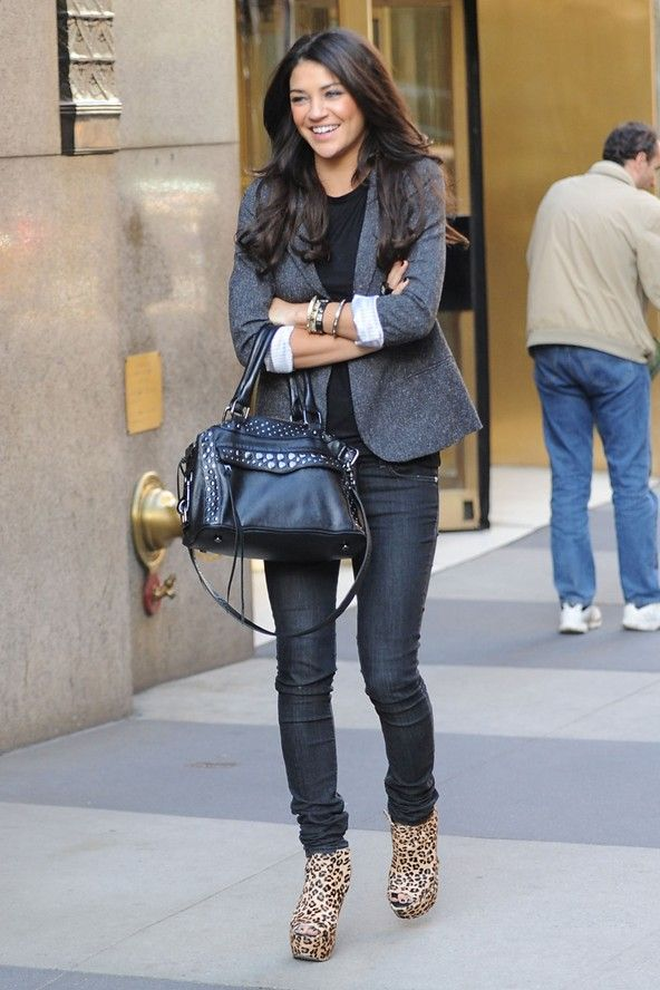 Jessica Szohr, love the blazer and the bag!