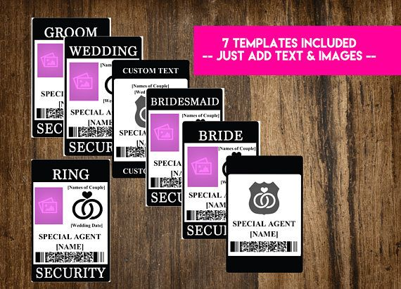 Make it official with these awesome WEDDING ID BADGES! This is our PRINT-AT-HOME version! This listing is for 1 INSTANT DOWNLOAD WORD .DOC FILE which includes the following templates: - Ring Security (with image placeholder) - Ring Security (without image placeholder) - Bride Security - Groom Security - Bridesmaid Security - Wedding Security - Blank Security - Customize with your own positions! ---------------------------------------- HOW TO USE ---------------------------------------- 1. P...