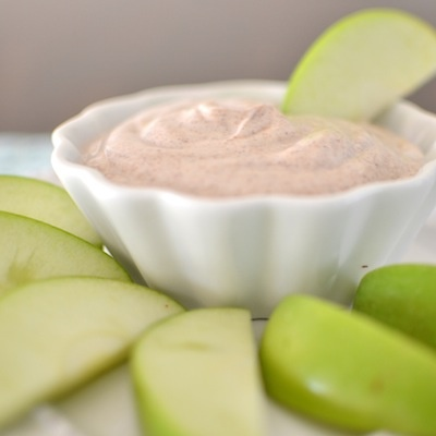 Maple Cinnamon Fruit Dip  Ingredients: 1 cup nonfat vanilla Greek yogurt 1 tsp. ground cinnamon 1 tsp. brown sugar 1 tsp. maple syrup 2-3 Granny Smith apples, cored and thinly sliced Directions: Place ingredients, except the apples, into the Ninja Kitchen System Pulse Single Serve Cup. Pulse and hold until smooth. Serve with the sliced apples. Makes 1 cup.