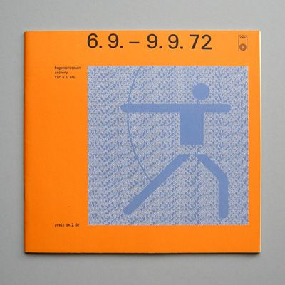 Otl Aicher and the 1972 Munich Olympics.  Archery daily program