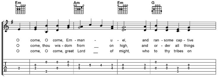 O Come, O Come, Emanuel, Free Guitar Sheet Music and MP3