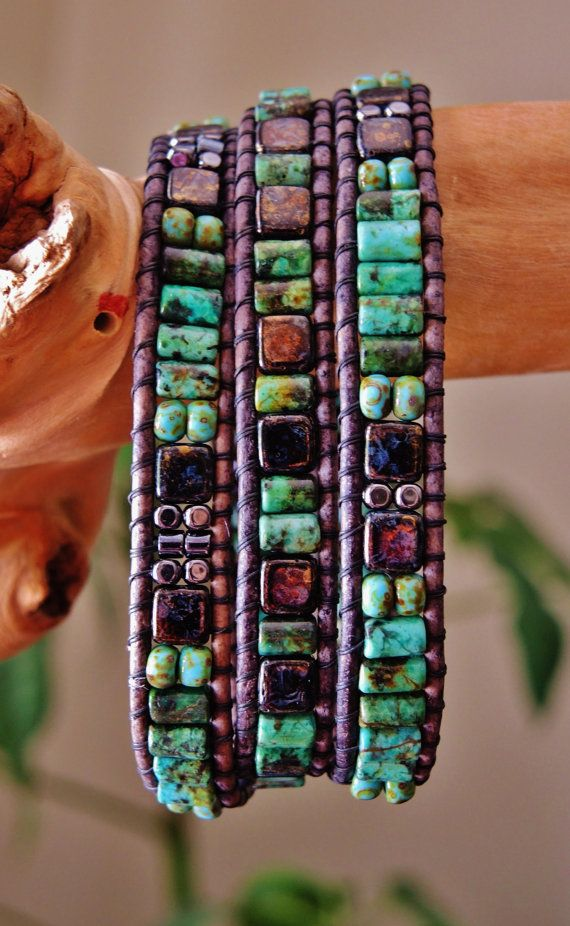 """Unisex """"BACKWOODS""""  Triple Wrap Gray Leather Bracelet, African Green Turquoise,Czech Black Picasso Tile/Seed Beads, Gunmetal Beads/Button"""