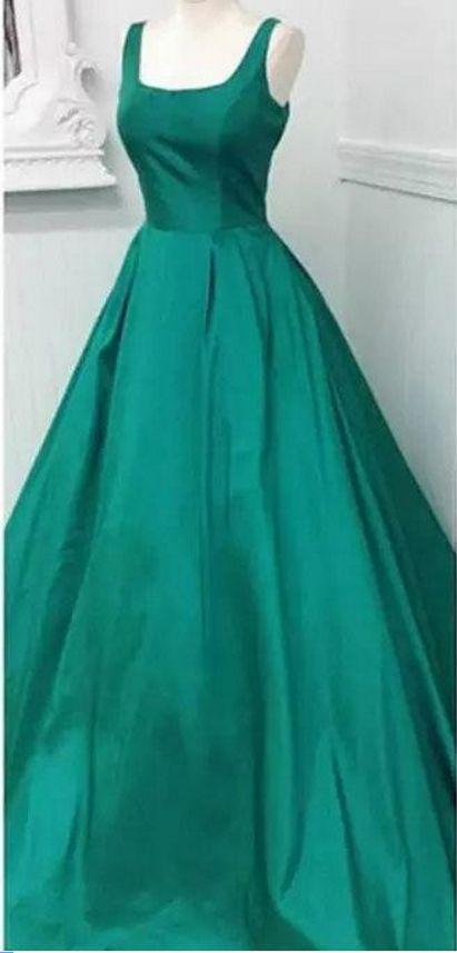 Square Neck Emerald Green Prom Dress