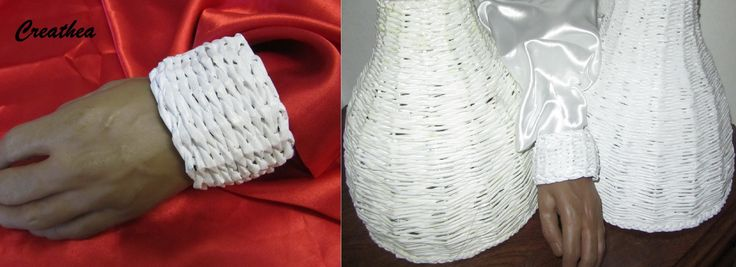 Due lampadari e un bracciale fatti le cannucce con un libro telefonico.