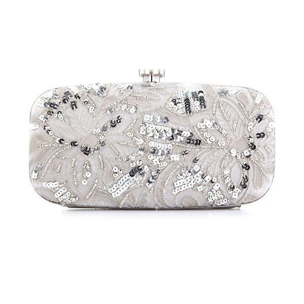 Sequined silver clutch by Oscar de la Renta