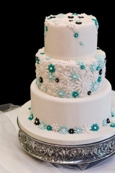 Pure white with touches of blue for this contemporary style wedding cake