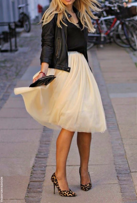 Black leather jacket, cream midi skirt, leopard heels. Street women fashion outfit clothing style apparel @roressclothes closet ideas